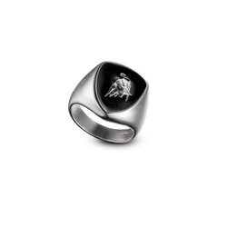 Shield silver men's ring
