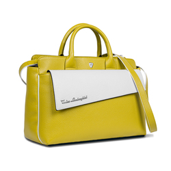 TAGLIO BAG Yellow Business Bag with White Saffiano insert