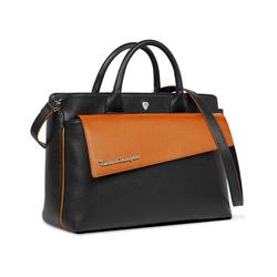 TAGLIO BAG Black Business Bag with Orange Saffiano insert