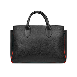 TAGLIO BAG Black Business Bag with Red Saffiano insert