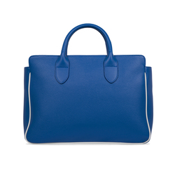 TAGLIO BAG Blue Business Bag with White Saffiano insert