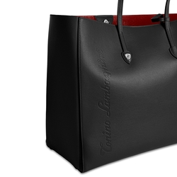 Day by Day leather shopping bag black/red