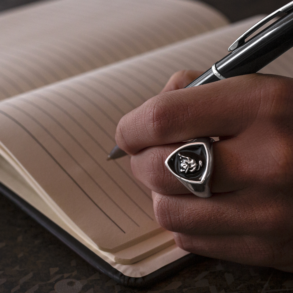 Tonino Lamborghini - Shield silver men's ring