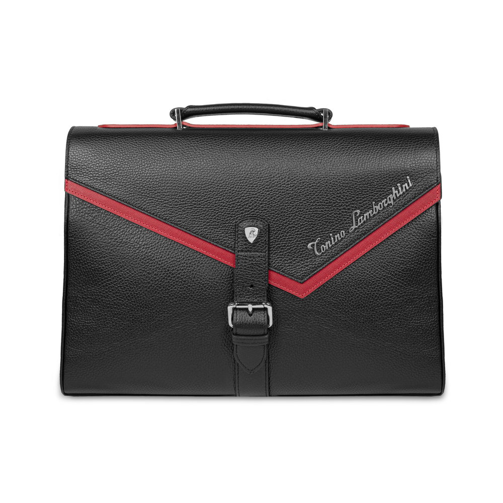 Tonino Lamborghini - Taglio  Saffiano Leather Briefcase red