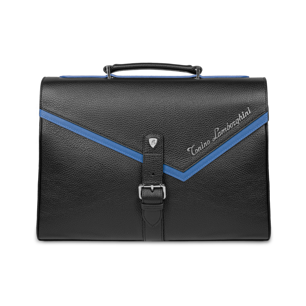 Tonino Lamborghini - Taglio  Saffiano Leather Briefcase blue