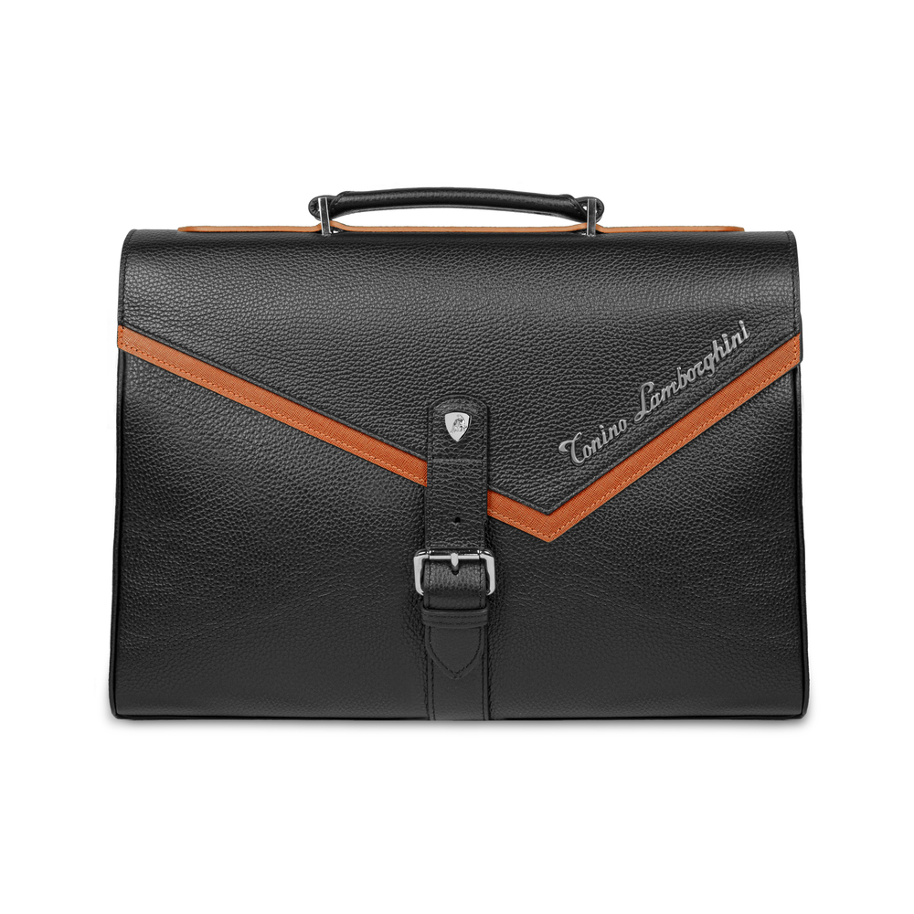 Tonino Lamborghini - Taglio  Saffiano Leather Briefcase mandarin