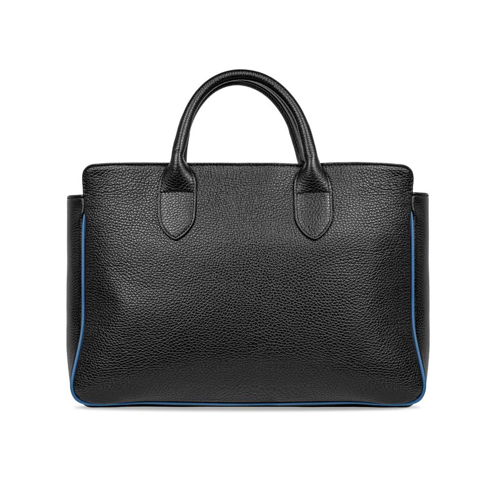 TAGLIO BAG Black Business Bag with Blue Saffiano insert