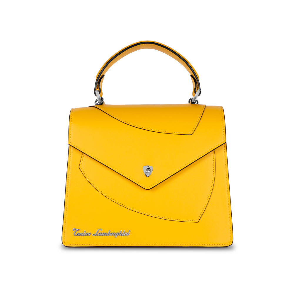 Tonino Lamborghini - Leather top handle bag Shield Lady yellow