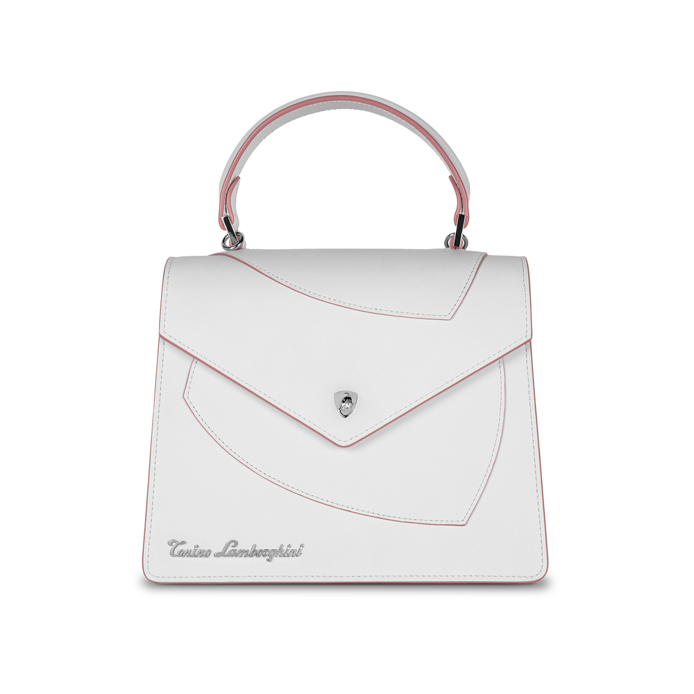 Tonino Lamborghini - Leather top handle bag Shield Lady white