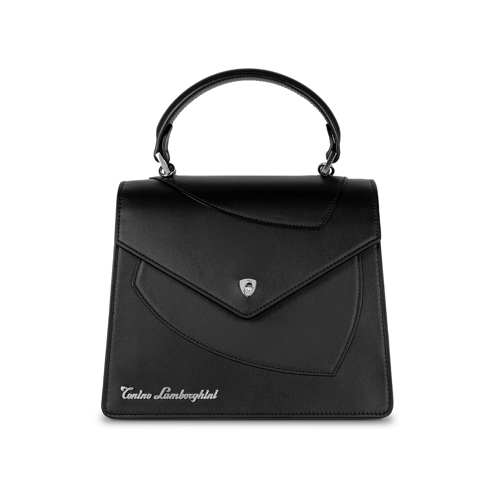 Tonino Lamborghini - Leather top handle bag Shield Lady black