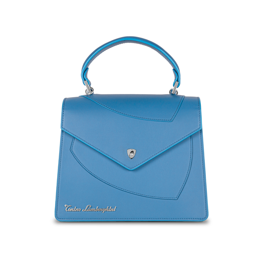 Tonino Lamborghini - Leather top handle bag Shield Lady blue
