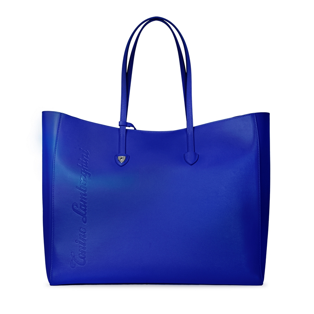 Tonino Lamborghini - Day by Day leather shopping bag electric blue/mandarin