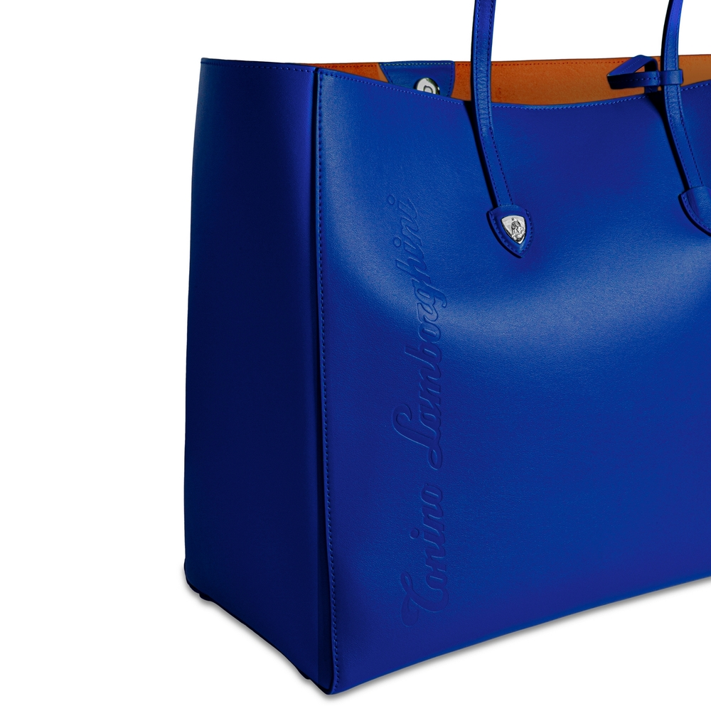 Day by Day leather shopping bag electric blue/mandarin