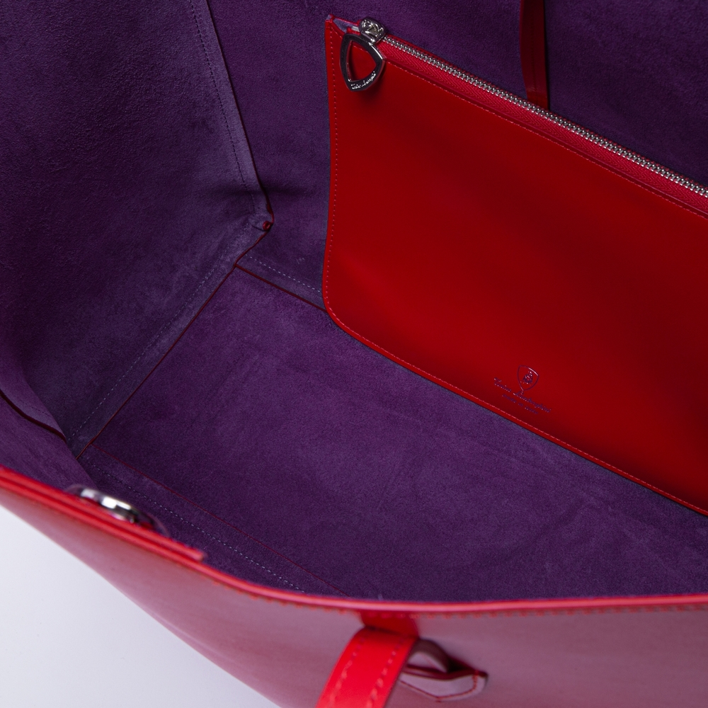 Day by Day leather shopping bag red/bougainvillea