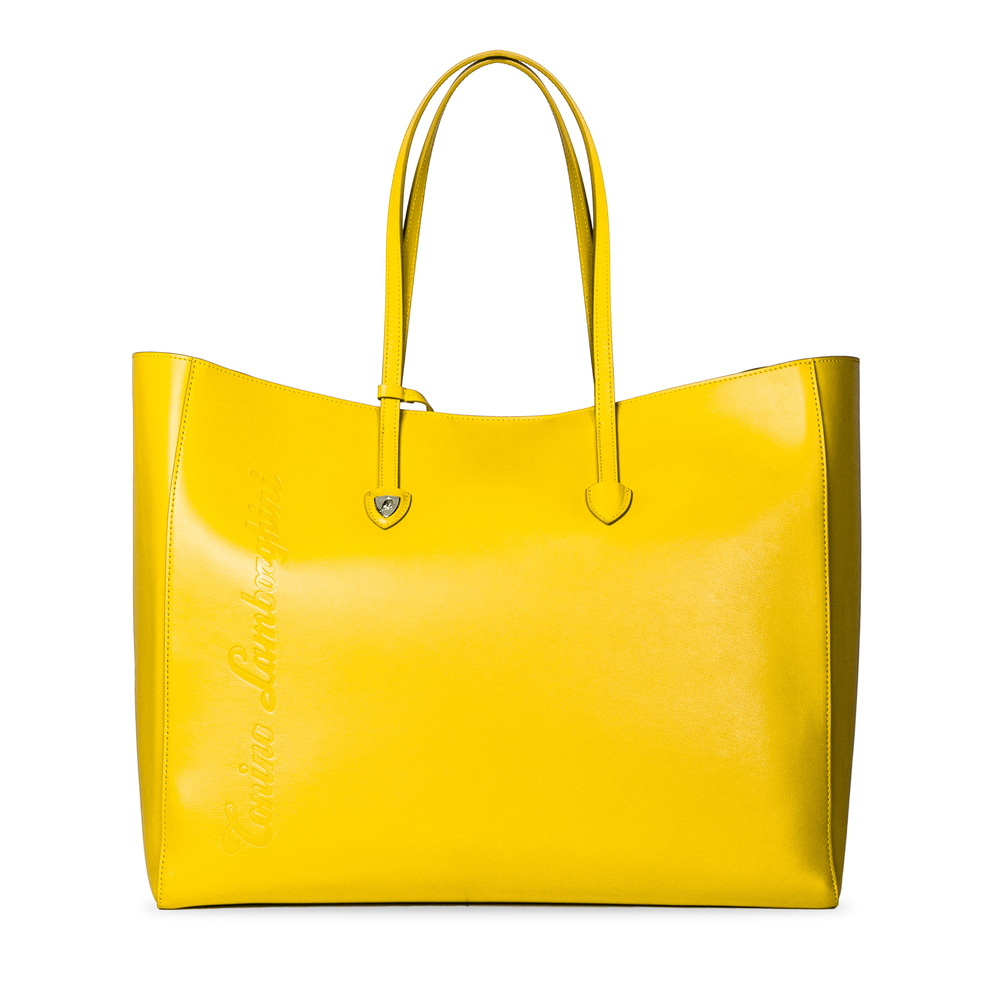 Tonino Lamborghini - Day by Day leather shopping bag yellow/fuchsia